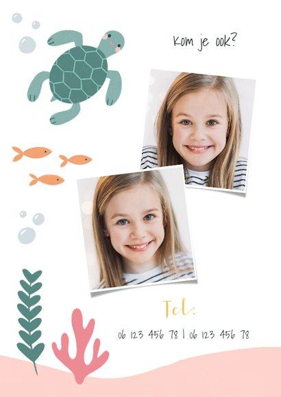 Hip kinderfeestje uitnodiging zeemeermin, schildpad en foto 2