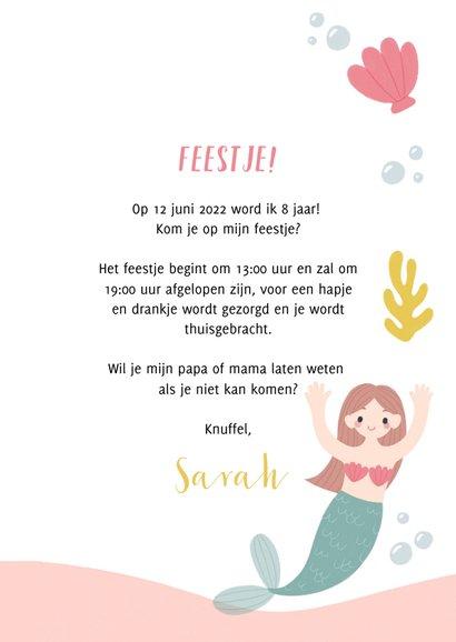 Hip kinderfeestje uitnodiging zeemeermin, schildpad en foto 3