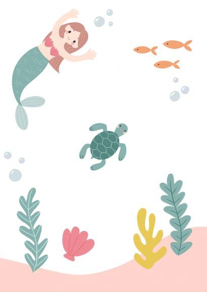 Hip kinderfeestje uitnodiging zeemeermin, schildpad en foto Achterkant
