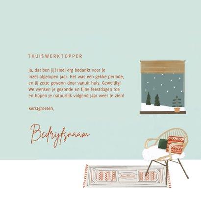 Hippe bedankkaart thuiswerktopper in kerstsfeer illustratie 3