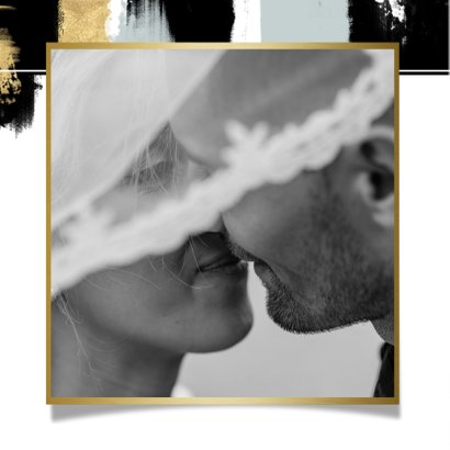 Hippe bedankkaart voor trouwdag met verfstrepen & typografie 2