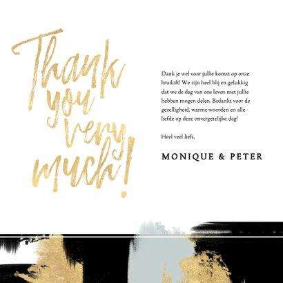 Hippe bedankkaart voor trouwdag met verfstrepen & typografie 3