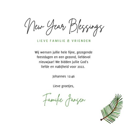 Hippe christelijke nieuwjaarskaart groene takjes op papier 3