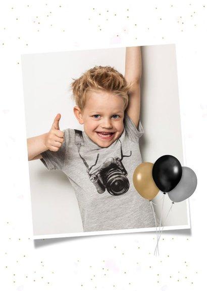 Hippe communie uitnodigingskaart fotocollage jongen 2