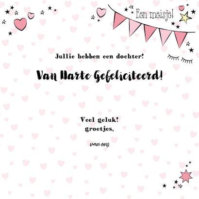Hippe felicitatie kaart in handlettering-stijl met een baby 3