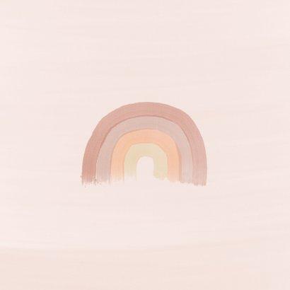 Hippe felicitatiekaart geboorte meisje waterverf & regenboog 2
