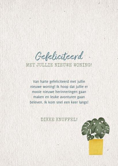 Hippe felicitatiekaart huisje boomje plantje met plantjes 3