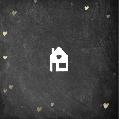 Hippe felicitatiekaart nieuwe woning krijtbord en hartjes 2