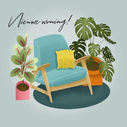 Hippe felicitatiekaart nieuwe woning met planten en stoel 2