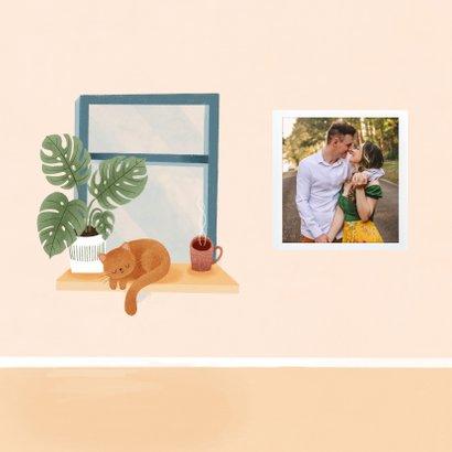Hippe felicitatiekaart nieuwe woning met raam, stoel en kat 2