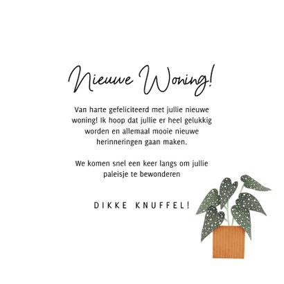 Hippe felicitatiekaart nieuwe woning planten en typografie 3