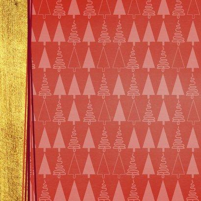 Hippe foto kerstkaart goud rood kerstboom 2021 2