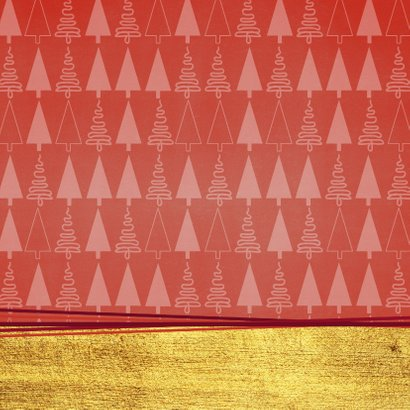 Hippe foto kerstkaart goud rood kerstboom 2021 Achterkant