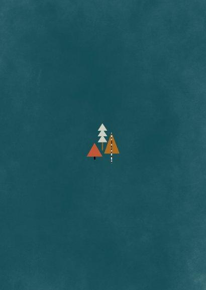 Hippe fotokaart met kerstbomen illustratie Achterkant