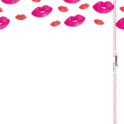 Hippe geslaagd kaart met lipjes / kusjes in rood en roze 2