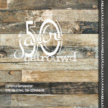 Hippe jubileumkaart  fotocollage - krijtbord hout 2