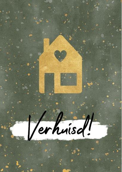 Hippe kerst verhuiskaart met huisje, verf en gouden spetters 2