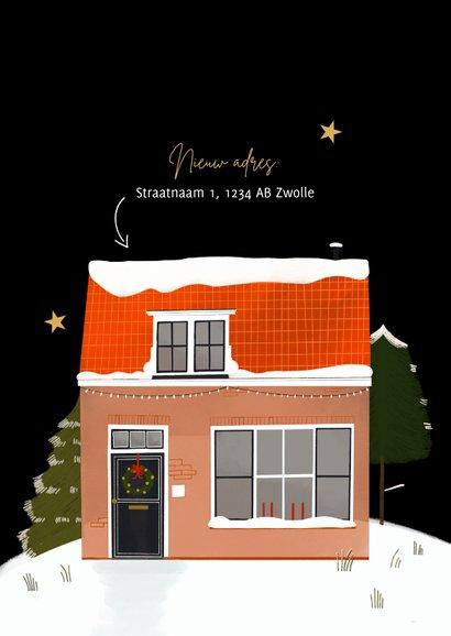 Hippe kerst-verhuiskaart nieuwe woning sneeuw merrychristmas 2
