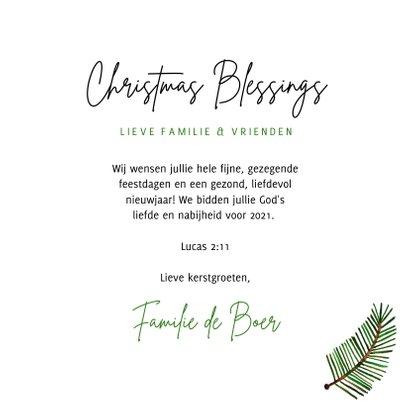 Hippe kerstkaart Christmas Blessings groene takjes op papier 3
