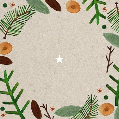 Hippe kerstkaart Christmas Blessings groene takjes op papier Achterkant