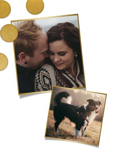 Hippe kerstkaart grote foto, gouden confetti en Fijne Kerst! 2