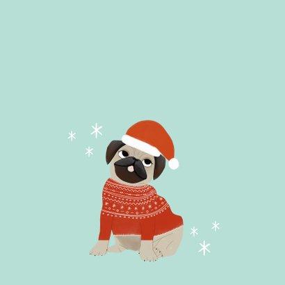 Hippe kerstkaart humor merry pugmas hondje kerstmuts en trui 2