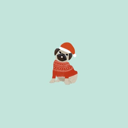Hippe kerstkaart humor merry pugmas hondje kerstmuts en trui Achterkant