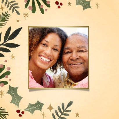 Hippe kerstkaart kersttakjes kader gouden Merry Christmas 2
