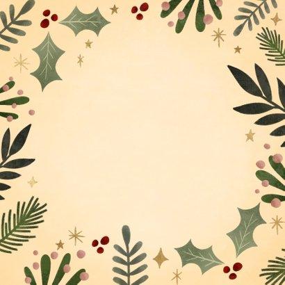 Hippe kerstkaart kersttakjes kader gouden Merry Christmas Achterkant