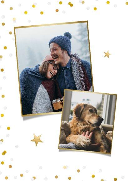 Hippe kerstkaart met grote foto en goud met witte confetti 2