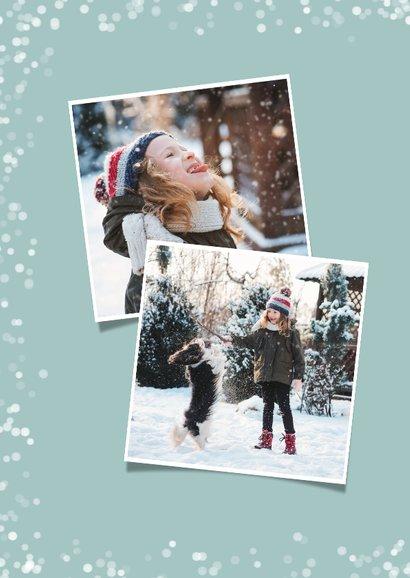 Hippe kerstkaart met witte confetti en eigen foto 2