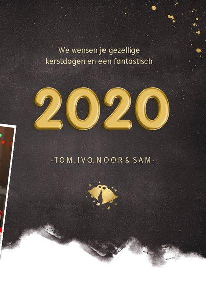 Hippe nieuwjaarskaart fotocollage polaroids met jaartal 2020 3
