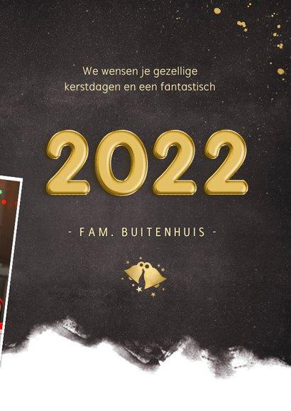 Hippe nieuwjaarskaart fotocollage polaroids met jaartal 2022 3
