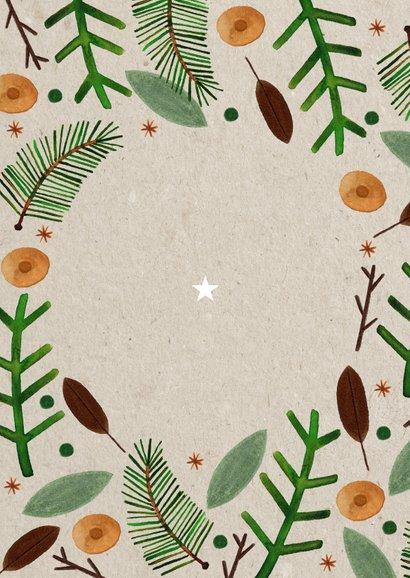 Hippe nieuwjaarskaart gezegend nieuwjaar foto en kerstkrans Achterkant