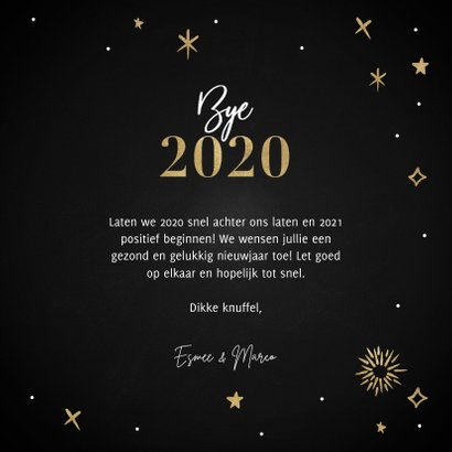 Hippe nieuwjaarskaart Hello 2021 met vuurwerk en sterren 3
