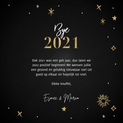 Hippe nieuwjaarskaart Hello 2022 met vuurwerk en sterren 3
