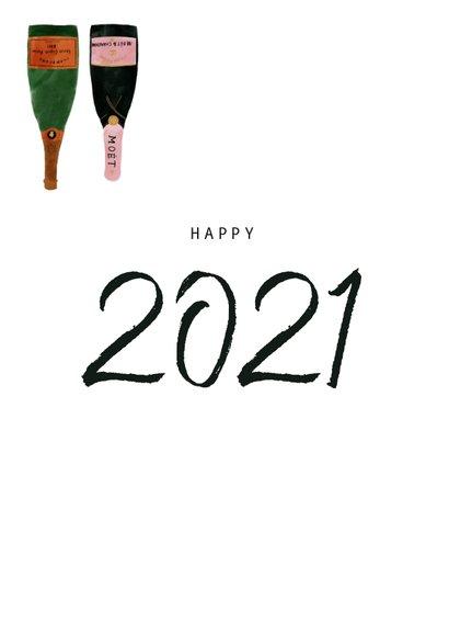 Hippe nieuwjaarskaart met champagneflessen en 2021 2