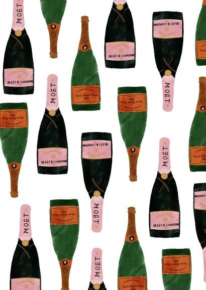 Hippe nieuwjaarskaart met champagneflessen en 2021 Achterkant