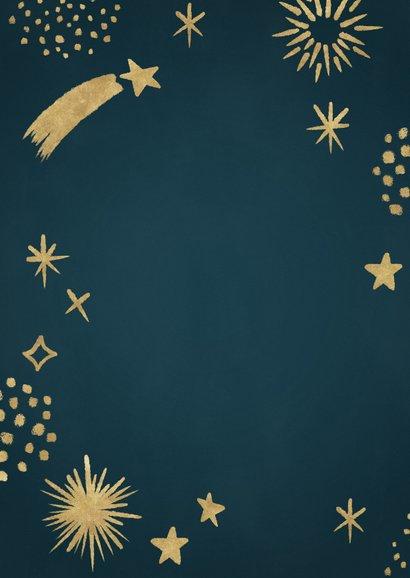 Hippe nieuwjaarskaart met gouden vuurwerk en sterren  Achterkant