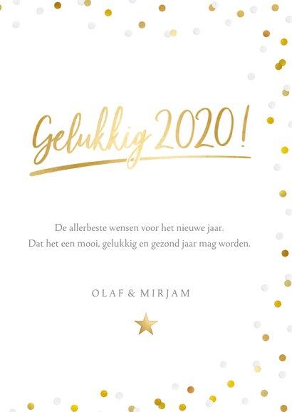 Hippe nieuwjaarskaart met grote foto, 2020 en confetti 3
