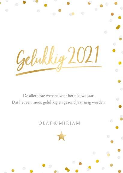 Hippe nieuwjaarskaart met grote foto, 2021 en confetti 3