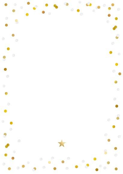 Hippe nieuwjaarskaart met grote foto, 2021 en confetti Achterkant