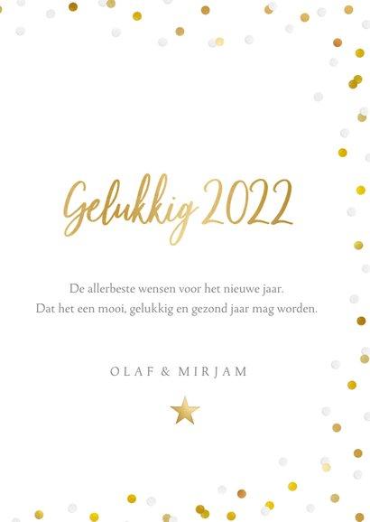 Hippe nieuwjaarskaart met grote foto, 2022 en confetti 3