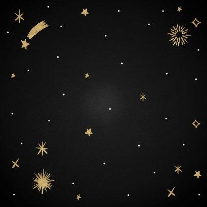Hippe nieuwjaarskaart Oud en Opnieuw sterren en vuurwerk Achterkant