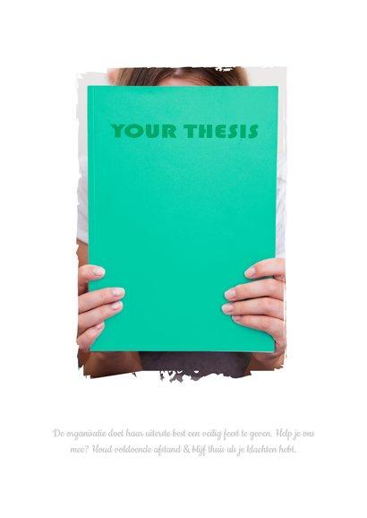 Hippe PhD Promotie Feest Uitnodiging met eigen thesis omslag 2