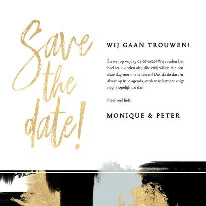 Hippe Save the Date kaart verf strepen en gouden typografie 3