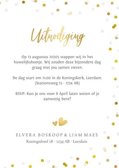 Hippe staande trouwkaart met eigen foto en confetti kader 3