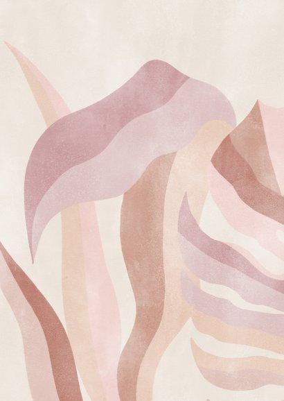 Hippe trouwkaart botanische bladeren neutrale kleuren Achterkant