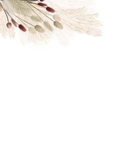 Hippe trouwkaart met droogbloemen Achterkant