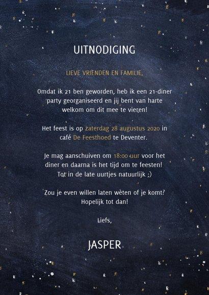 Hippe uitnodiging 21-diner met heelal, sterren en typografie 3